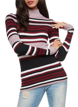 Striped Turtleneck Sweater - 3020038347434