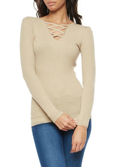 Rib Knit Caged Neck Sweater - 3020038347435
