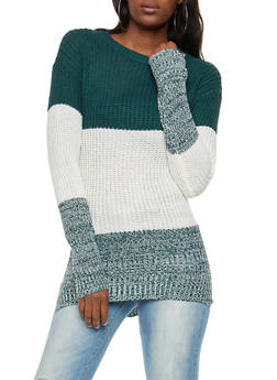 Long Sleeve Color Block Sweater - 3020038348116