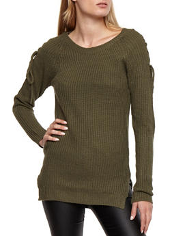 Lace Up Long Sleeve Knit Sweater - 3020038349120