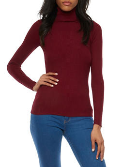 Turtleneck Sweater in Ribbed Knit - 3020038349422