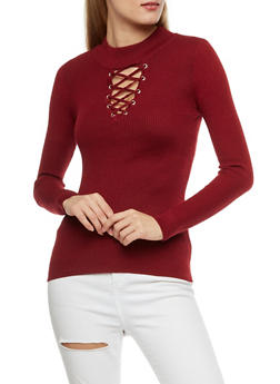 Ribbed Knit Lace Up Mock Neck Top - BURGUNDY - 3020051060001