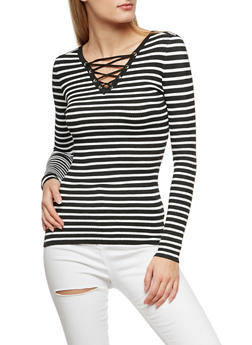 Striped Long Sleeve Lace Up Top - BLACK/WHITE - 3020051060006