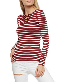 Striped Long Sleeve Lace Up Top - 3020051060006