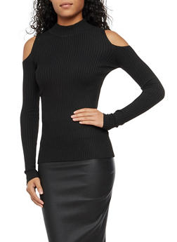Long Sleeve Cold Shoulder Ribbed Knit Top - 3020051060007