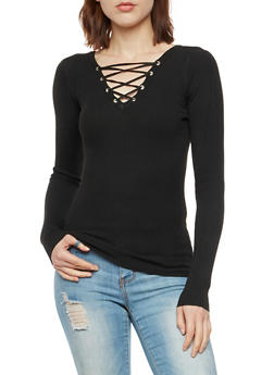 Long Sleeve Rib Knit Lace Up Top - 3020051060008