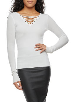 Long Sleeve Rib Knit Lace Up Top - IVORY - 3020051060008