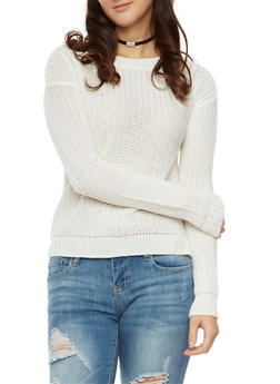 Sweater with High Low Hem - IVORY - 3020054265624