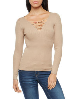 Lace Up Ribbed Knit Long Sleeve Top - 3020054265858