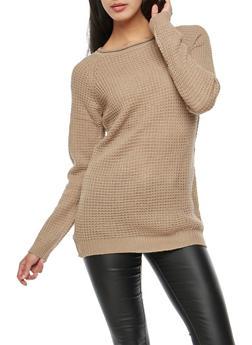 Waffle Knit Tunic Sweater - 3020054266907