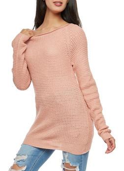 Waffle Knit Tunic Sweater - MAUVE - 3020054266907