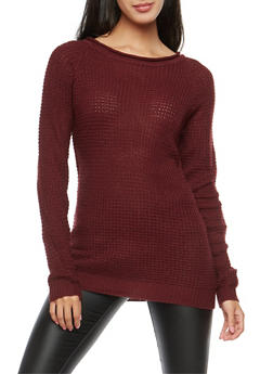 Waffle Knit Tunic Sweater - BURGUNDY - 3020054266907