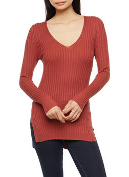 Side Slit Ribbed Knit Sweater - 3020054268184