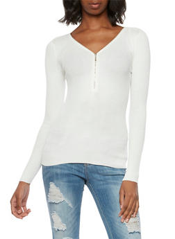 Ribbed Top with Zippered V-Neck - IVORY - 3020054268683