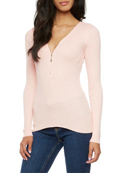 Ribbed Top with Zippered V-Neck - BLUSH - 3020054268683