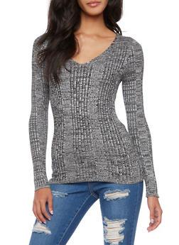 Ribbed V-Neck Sweater - 3020054268684