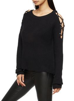 Cold Shoulder Lace Up Sleeve Sweater - BLACK - 3020054268825