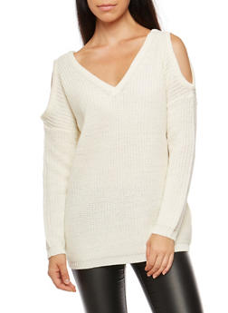 Cold Shoulder Heavy Knit Sweater - IVORY - 3020054268838