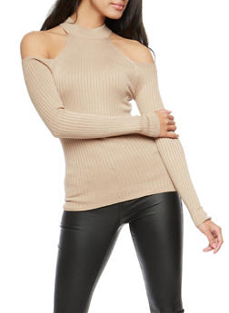 Mock Neck Cold Shoulder Top - 3020054268844
