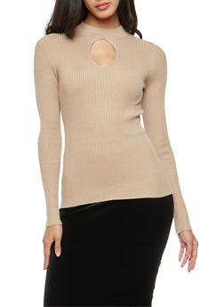 Ribbed Knit Keyhole Sweater - 3020054268857