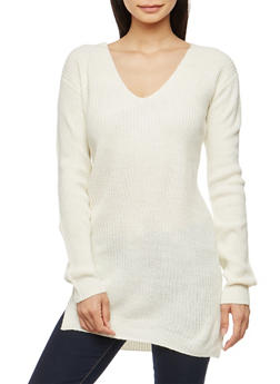 Long Sleeve Tunic Sweater with Caged Back Detail - IVORY - 3020054268882