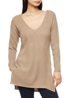 Long Sleeve Tunic Sweater with Caged Back Detail - 3020054268882