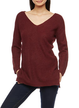 Long Sleeve Tunic Sweater with Caged Back Detail - BURGUNDY - 3020054268882