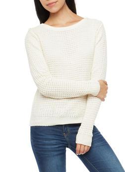 Waffle Knit Caged Crew Neck Sweater - IVORY - 3020054268883