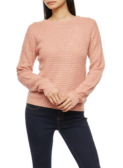 Waffle Knit Caged Crew Neck Sweater - 3020054268883