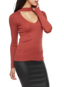 Choker Neck Keyhole Sweater - 3020054268909