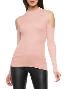 Ribbed Knit Cold Shoulder Sweater - MAUVE - 3020054268910