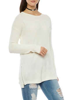 Sweater with Zipper Accent - 3020054269175