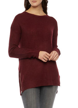 Sweater with Zipper Accent - BURGUNDY - 3020054269175