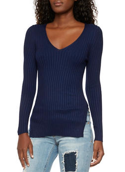 Ribbed V-Neck Sweater with Slits - 3020054269184