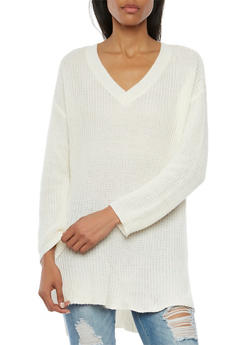 V Neck Sweater with High Low Hem - 3020054269217