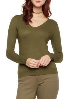 V Neck Textured Knit Sweater - 3020054269227