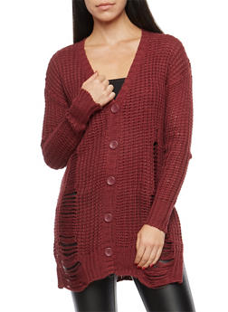 Distressed Button Front Cardigan - 3022015050361
