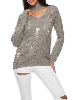 Ripped Choker V Neck Sweater - 3022015052031