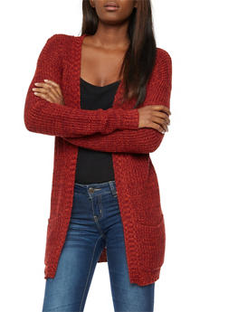 Two Tone Chunky Knit Cardigan - 3022038341207