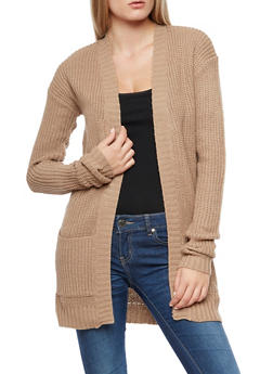 2 Pocket Open Front Cardigan - 3022038343205