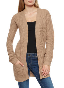 Waffle Knit Open Front Cardigan - 3022038343206