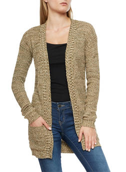 Waffle Knit Open Front Cardigan - 3022038343207