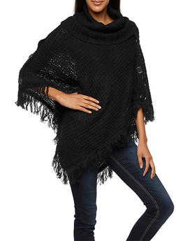 Cowl Neck Poncho with Buttons and Fringe - 3022038346180