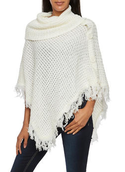 Cowl Neck Poncho with Buttons and Fringe - IVORY - 3022038346180
