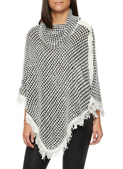 Knit Poncho with Fringe Hem and Button Accents - 3022038346182