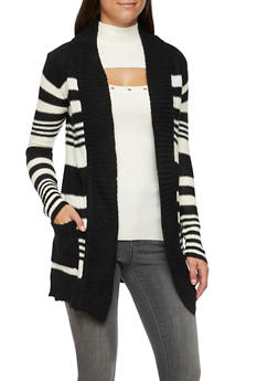 Striped Cardigan with Open Front - 3022038346205