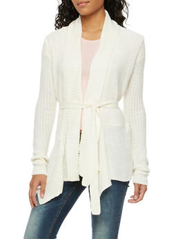 Draped Cardigan with Belt - IVORY - 3022038346207
