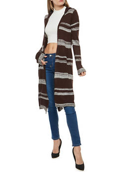 Striped Hooded Duster - 3022038346236