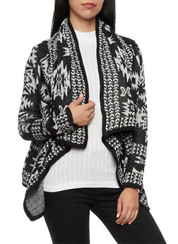 Draped Cardigan in Aztec Pattern - 3022038346273