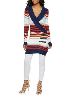 Striped Tunic Sweater with Wrap Front - 3022038346304